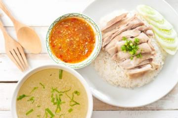Hainanese Chicken Rice & Roast Pork Belly